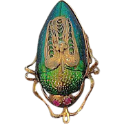 Egyptian Revival Scarab Brooch/Pendant 10K