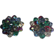 Signed Laguna Crystal Cluster Clip On Earrings