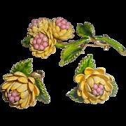 Vintage Enameled Flower Brooch and Earring Set