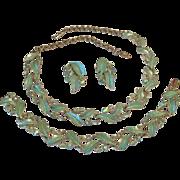 Coro designed 1940's Enameled Leaf and Rhinestoned Necklace, Earring & Bracelet Set
