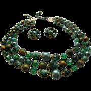 Hong Kong Green Art Bead Necklace Earring Set