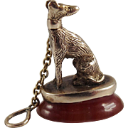 Victorian 12K Gold and Banded Agate Dog Figural Wax Seal Fob Charm