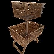 Huge Vintage Industrial Metal Wire 2 Tier Basket Stand Organizer Display Rack