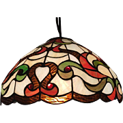 Lovely Faux Stained Glass Ceiling Mount Light Fixture
