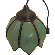 Lovely Faux Stained Glass Ceiling Mount Light Fixture Jadeite Tulip