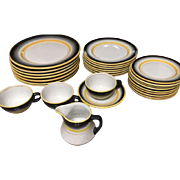 28 Piece Mayer China Restaurant Ware Handpainted Fade Out Black And Yellow