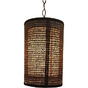 Vintage Mid Century Brown Wicker Hanging Swag Ceiling Light Lamp Cylindrical