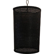 Vintage Mid Century Black Wicker Hanging Swag Ceiling Light Lamp Cylindrical