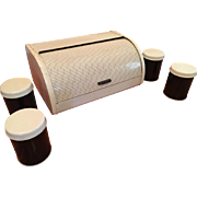Vintage Set Kitchen Tin Canisters & Bread Box Black And White Mid Century