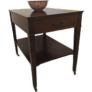 Vintage Mahogany One Drawer On Casters Night Stand Accent End Table