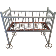 Vintage Blue Painted Wood Rolling Baby Crib Bed For Display Only