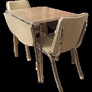 Vintage 1950's Chrome Birch Formica Drop leaf dinette Set table Chairs Complete