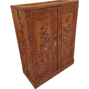 Vintage Chinese carved Wood Media Storage Cabinet Republic Of China Mid Century