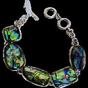 SALE Sterling Silver Abalone Multi-Shape Link Bracelet