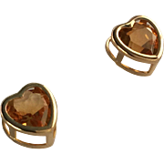 SALE Citrine Heart Stud Earrings 14k Yellow Gold