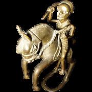 REDUCED Vintage African Bronze Sculpture - Warrior Horse Spear - Benin Ashanti Dogon