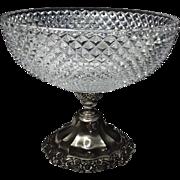 SALE Vintage W Germany Crystal Bowl Pewter Pedestal