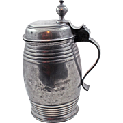 19Century German Pewter Barrel Form Beer Stein with Hebrew Inscription