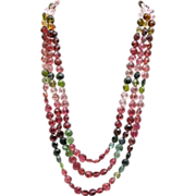 SALE 8mm Natural Triple strands Multi-Color Watermelon Tourmaline Necklace 14KT Gold