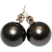 SALE 12.5mm Cultured Tahitian Pearl Level Back Earrings 14KT White Gold
