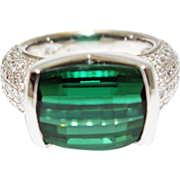 SALE 18KT White Gold Tension Set 8 CT Natural Chrome Tourmaline and 2 CT Diamond ...