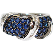 SALE 3CT Most Gorgeous Natural Blue Sapphire Diamond Ring 14KT White Gold