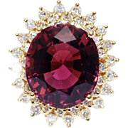SALE Most Gorgeous 19 CT Natural Pink Red Rubellite Tourmaline Diamond Ring 18KT Yellow Gold