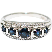 SALE 2CT Most Stunning Natural Blue Sapphire Diamond Ring 14KT White Gold