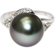 SALE 14KT White Gold 11.5 mm Natural Tahitian Pearl Diamond Ring