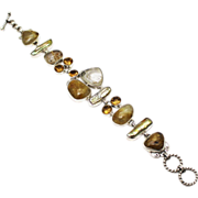 SALE Hand made Rutilated Quartz, Citrine and Tennessee Pearl Sterling Silver Bracelet