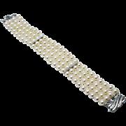 SALE Four strands 6 1/2mm Cultured Akoya Pearls Bracelet Diamond 14KT Gold Bracelet