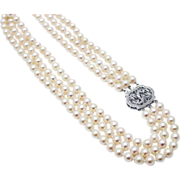 SALE Priceless Diamond 14KT White Gold Clasp Triple strands 7 1/2mm Cultured Akoya Pearls ...