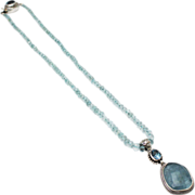 SALE 140 CT Natural Aquamarine 10CT Blue Topaz Handmade Sterling Silver Necklace