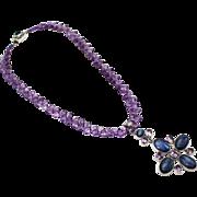 SALE Natural Amethyst, Kyanite & Iolite Handmade Sterling Silver Necklace