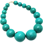 SALE Amazing Natural 34mm Arizona Turquoise Sterling Silver Necklace