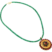 SALE Natural Columbian Emerald and Ruby Handmade 18 KT Gold Necklace
