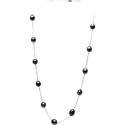 SALE 13mm Cultured Tahitian Baroque Pearls Diamond By The Yard Necklace 18KT White Gold