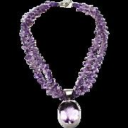 SALE 300 CT Natural Rose De France Pink Amethyst Handmade Sterling Silver Necklace