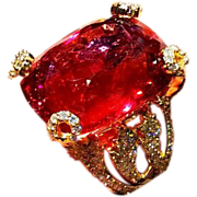 SALE Most Amazing Designer 64ct Natural Rubellite Pink Tourmaline and Diamond Ring in 18KT ...