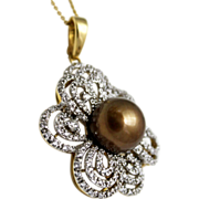 SALE 12.6mm Golden Chocolate Cultured Tahitian Pearls Diamond Pendant 18KT Gold
