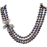 SOLD Cultured Freshwater Peacock Pearls with Stunning Sterling Silver CZ Orchid Flower Necklac