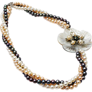 SALE Triple Strand 6mm Cultured Pink, White, black Freshwater Pearl Flower Necklace