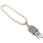 SALE Amazing 13mm Cultured Freshwater Pearl CZ Sterling Silver Art Deco Necklace