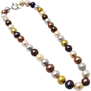 SALE Amazing Multi-Color Cultured Freshwater Pearl CZ Platinum over Silver Necklace