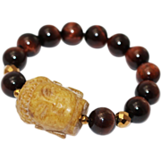 SALE Natural Hand Carved Yellow Jade Buddha and Red Tiger's Eye Bracelet