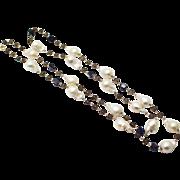 SALE Natural Geometric Iolite, Smokey Quartz, Cultured Baroque Freshwater Pearls Handmade 14KT