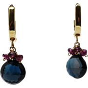 SALE Handmade Natural Rhodolite Garnet and London Blue Topaz Earrings 14KT Gold
