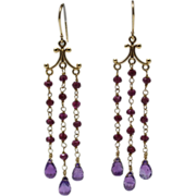 SALE Handmade Natural Rhodolite Garnet and Amethyst Chandelier Earrings 14KT Gold