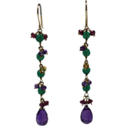 SALE Handmade Natural Rhodolite Garnet, Amethyst, Citrine and Green Onyx Earrings 14KT Gold