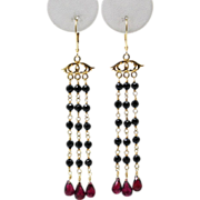 SALE Handmade Natural Rhodolite Garnet and Black Spinal Chandelier Earrings 14KT Gold